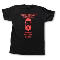 THIGHBRUSH® TACTICAL - Beards. Bullets. Babes. - Men's T-Shirt - Black and Red