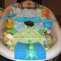 "Baby Bath ""Centerpiece"" Baby Shower Gift ~ a baby tub, an assortment of bath products, lotions, toys, washcloths, towels, a hooded robe and a plush robe.... Easy to customize!"