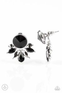 Paparazzi Radically Royal - Black Gem Hematite and Black Rhinestone Double Sided Post Earrings $5.00