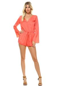 Women's Long Sleeve Waist Tie Romper $27.50