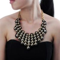 Fashion Jewelry Chain Resin Pearl Golden Collar Choker Statement Pendant Bib Necklace