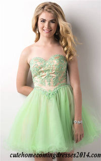 Short Bead Lace Strapless Prom Dresses 2014