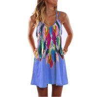 Boho Style Sexy Printed Plus Size Women Casual Summer Beach Dress
