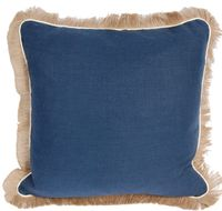 Navy Linen Pillow with Fringe $200.00