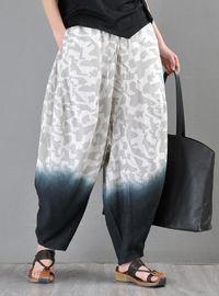 Women's Gray Linen Harem Pants, Plus size clothing, Summer Outfit Women, Loose Linen Pants, Women Linen Trousers