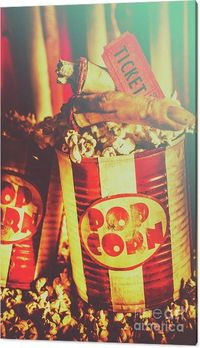 Horror Movie Canvas Print | Retro zombie movie snack with monster fingers in a cinema pop corn container with theater ticket stub. Halloween horror movies | Jorgo Photography #horrormovies #horrorart #hometheatreideas #movieroomdecor #homecinemadecor #pop...