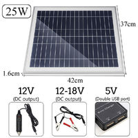 25W Portable Solar Panel Kit DC USB Charging Double USB Port Suction Cups Camping Traveling
