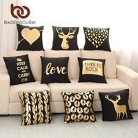 Gold Printed Black Decorative Pillow Case $19.99
