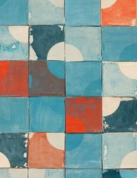 "The Quarter Circle tiles feature, in her words, ""the simple but sharp outline of a quarter circle, only subtly visible against a loosely painted background. Together the quarters enhance each other and emerge from the square tiles, starting a circula..."