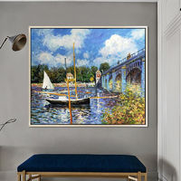 Landscape painting Monet Canvas Oil paintings on canvas original art sailing boat painting Wall Pictures home decor art canvas Hand painted $89.00