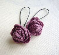 Lilac Rose Crochet Earrings - Crochet Jewelry - Lavender Earrings - Crocheted Rose Earrings - Long Dangle Earrings via Etsy