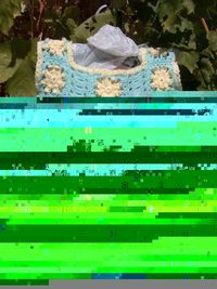 mint green lacy crocheted baby dress