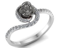 Swirl Ring with Rose Flower Thin Ring, Engagement Ring, 18K Unique Diamond Celtic Ring $568.40