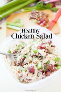 A healthy chicken salad recipe is a great way to make a lunch for yourself one day, and spread it out throughout the whole week. With flavorful chicken, grapes,