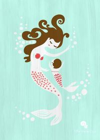 Mermaid mother/daughter print. Think I might do a mermaid/tattoo/nautical nursery theme for a girl