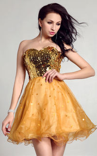 Yellow Ever Miss 1005 Sequin Sparkling Sweetheart Short Homecoming Dresses  http://www.2014partydresssale.com/