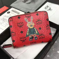 MCM Rabbit Visetos Short Wallet In Red
