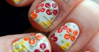 To make these adorable flower nails: first paint nails white (or any light color) then make 4-5 dots in a circle in multiple spots on your nail, Last, pull the dots into the center using a toothpick and add a dot to finish them off. ( If you l...