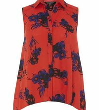 Dorothy Perkins Womens Red Floral Sleeveless Shirt- Red DP05516112 Red black and blue floral print sleeveless shirt with a body length 66cm. 100% Polyester. Machine washable. http://www.comparestoreprices.co.uk//dorothy-perkins-womens-red-floral-sleev...
