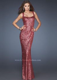 La Femme 18751 Strawberry Sequin Long Dress On Sale