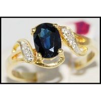 Blue Sapphire Diamond Unique 18K Yellow Gold Solitaire Ring [R0106]