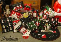 Hand made and stitched Pillows, Tree skirts and Santas oh my!