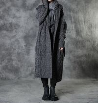 Dark gray long sweater, Women long coat, Long sweater coat, Plus size clothes, Hooded Coat