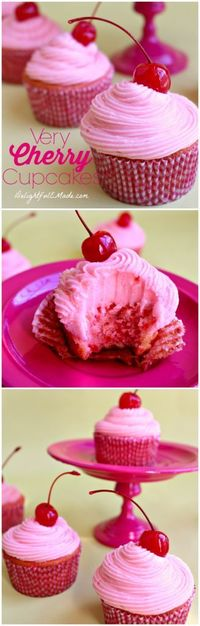 The perfect pink cupcakes! An amazingly most, delicious cake and fantastic cherry cream cheese frosting - perfected with a cherry on top!