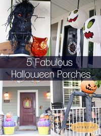 Entirely Eventful Day: 5 Fabulous Halloween Porches...I want to make that pumpkin guy!