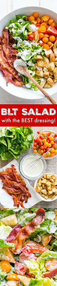 A BLT Salad loaded with fresh lettuce, crispy bacon, bright tomatoes, crunchy�€�