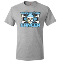Prostate Cancer TOUGHER THAN CANCER T-Shirt spotlighting a cool skull design with crossbones and wearing a headscarf featuring an awareness ribbon to advocate for the cause by AwarenessRibbonColors.Com
