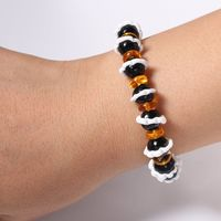 Black Big Lace Bead And Yellow Bead Elastic Bracelet For Women And Men $2.99