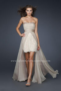 La Femme 17547 Nude Strapless Sheer Overlay Lacy High Low Homecoming Dress