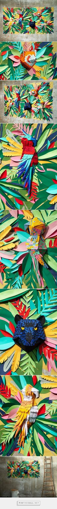 mlle hipolyte recreates a tropical jungle with hand-cut paper pieces - created via http://pinthemall.net