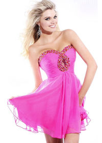 Short Sequined Keyhole Front Hot Pink Homecoming Dress