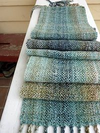 chenille scarf from revelry- easy ... and i have three works-well-together hanks of Blue Heron rayon chenille and a rigid heddle now that my floor loom is in storage