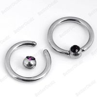 16ga Purple Czech Crystal Eyebrow Hoop Nose Ring Piercing Stainless Steel