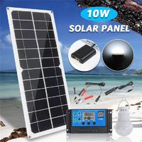 10W 12V 5V USB Solar Panel Charger Monocrystalline Flexible Cell Generator Lighting System W/ 10A Controller