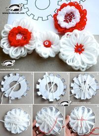 yarn flowers, flower template and yarn letters.