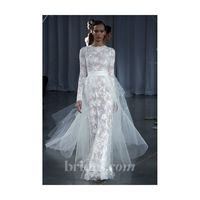 Monique Lhuillier - Fall 2013 - Candice Lace Sheath Wedding Dress with Tulle Overskirt - Stunning Cheap Wedding Dresses|Prom Dresses On sale|Various Bridal Dresses