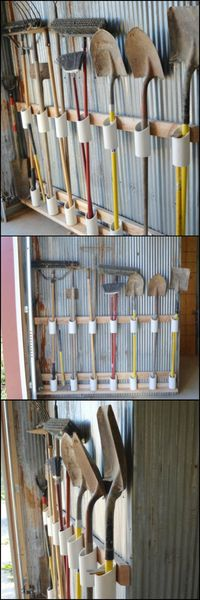 Use PVC pipes to create a garage tools organizer.