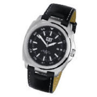 CAT black dial black leather strap watch This CAT black dial black leather strap watch has a quartz analogue movement, a date feature and is water resistant up to 100 metres. This watch has a black leather buckled strap and a round black fac http://www.co...