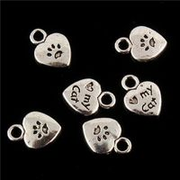 CLEARANCE Pack of 50 Silver Coloured My Cat Charms. Heart Pet Paw Tags. 11mm x 9mm Nature Charms £5.99