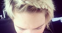 """The Inverted Braided """"Headband"""": Great for keeping short hair out of your face when you're working out!"""