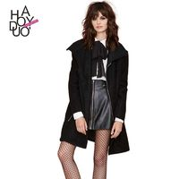 Must-have Vogue Slimming Polo Collar Zipper Up Wool Overcoat Coat - Bonny YZOZO Boutique Store