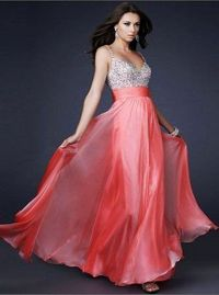 Sequin Top La Femme 16802 Watermelon Long Prom Dresses