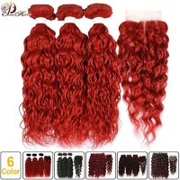 Brazilian Water Wave Bundles With Closure Burgundy Red Human Hair 3 Bundles With Closure 99J Color Pinshair Nonremy Hair No Shed $139.80
