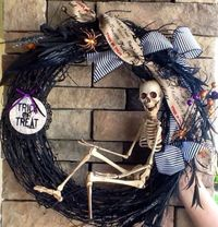 Hey, I found this really awesome Etsy listing at https://www.etsy.com/listing/244296388/halloween-wreath-skeleton-wreath-scary