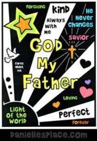 God Our Father Coloring Sheet www.daniellesplace.com