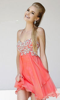 Short Coral Beaded Halter Prom Dresses 2014